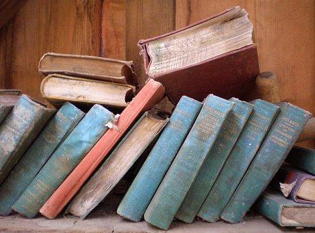 Livros, antigos, empoeirados, biblioteca, vintage