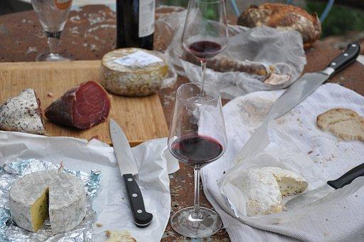 Picnic Cheese Wine Food Bread Table Picnic
