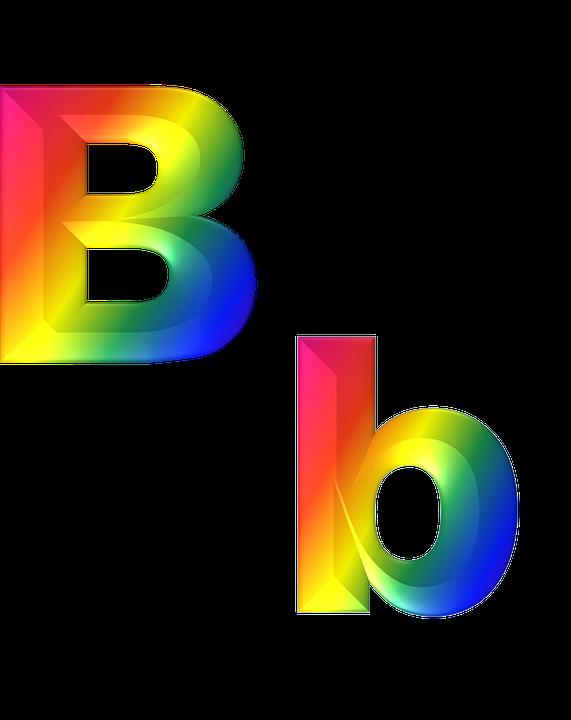 letter b abc 3d alphabet rainbow gradient bright