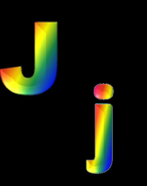 Letter J 3d Abc Alphabet Rainbow Gradient Bright