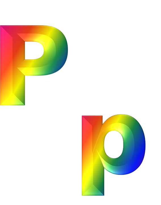 Letter P 3d Abc Alphabet Rainbow Gradient Bright