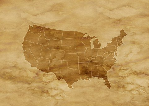Paper Parchment America Usa Map Stain