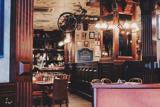カフェ, レストラン, ファンシー, スタイル, アップサイド ・ ダウン