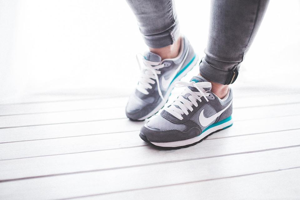 靴, 女性, 女の子, スポーツ, ジョギング, ランナー, ナイキ, グレー, 光, 徒歩, ライフスタイル