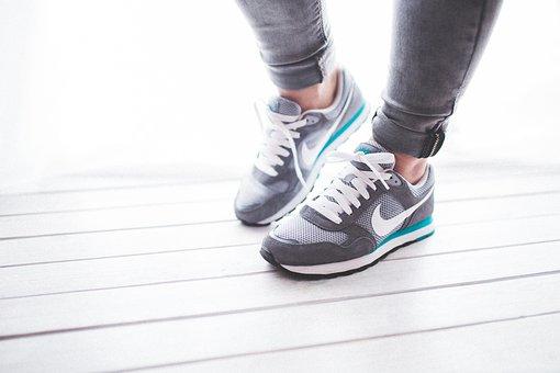 靴, 女性, 女の子, スポーツ, ジョギング, ランナー, ナイキ, グレー
