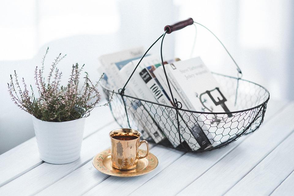 Златна, Чаша, Кафе, Кошница, Книги, Книга, Прочети