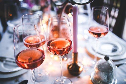 Wein, Rose, Glas, Gläser, Rosa, Tisch