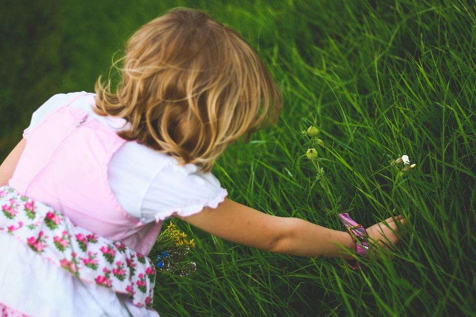 Little, Girl, Breaks, Flower, Flowers, Blond, Female