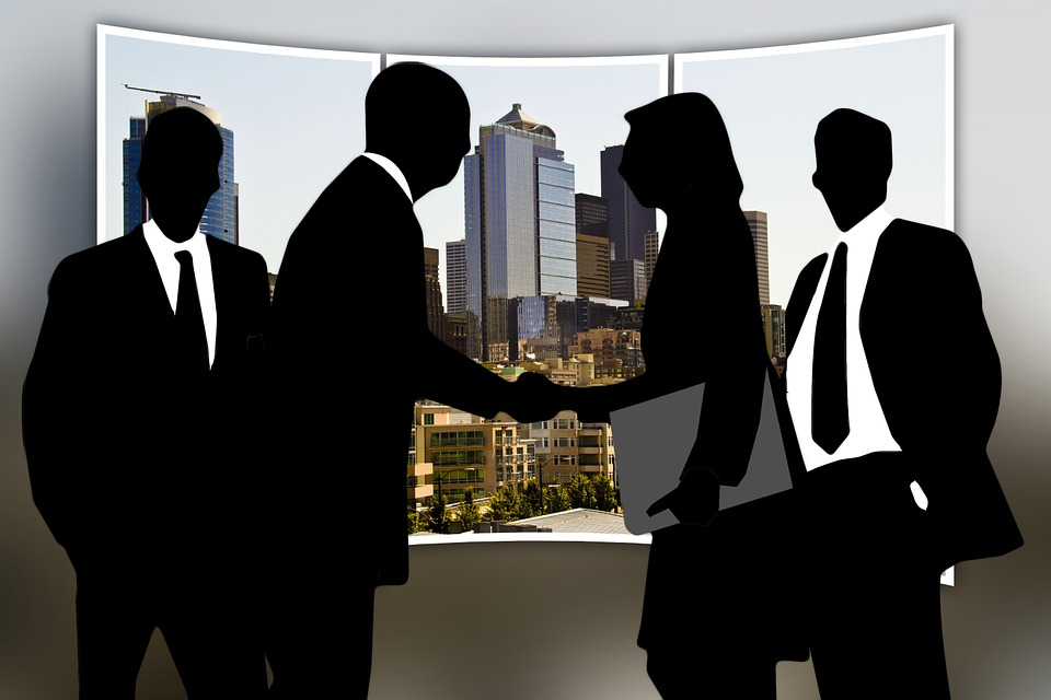 Personal, Group, Shaking Hands, Silhouettes, Man, Woman