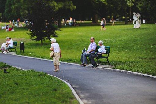人, 女性, 男, シニア, 公園, 庭, 日曜日, 年金, 就寝, ベンチ