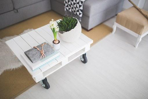 Table, Coffee Table, White, Industial