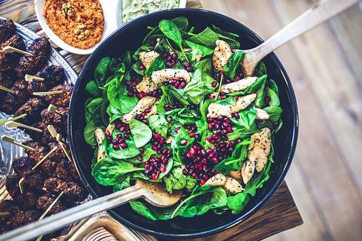Spinach, Chicken, Pomegranate, Salad