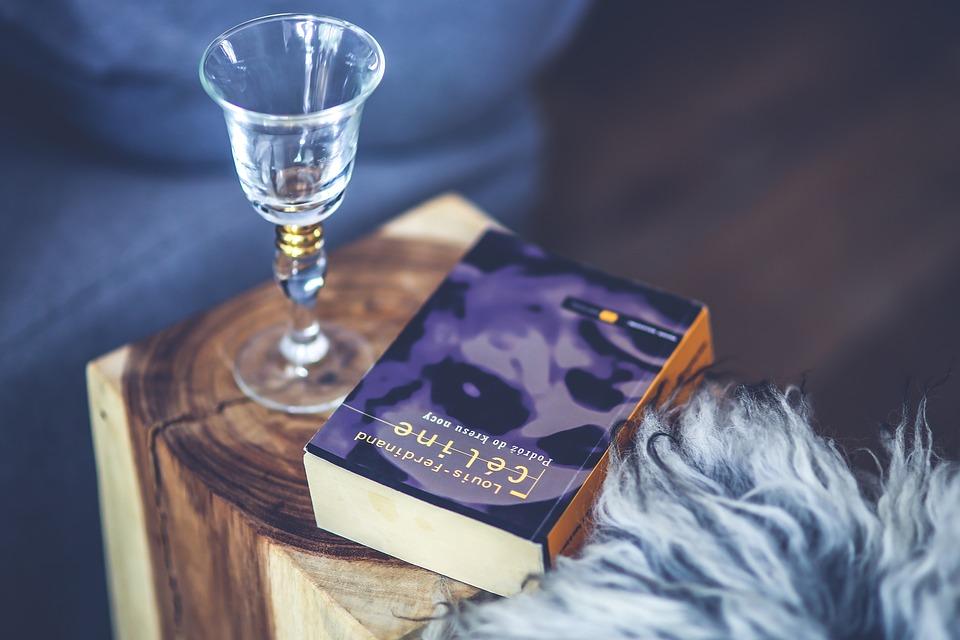 Вино, Glsss, Книга, Дърво, Дървена, Табуретка, Сам
