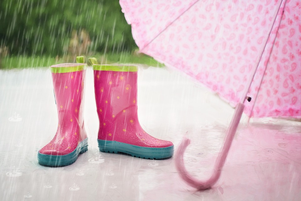 Pink boots and umbrella