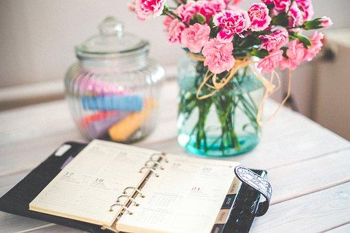 主催者, カレンダー, スケジュール, 予定, 日記, ノート, 花, ピンク