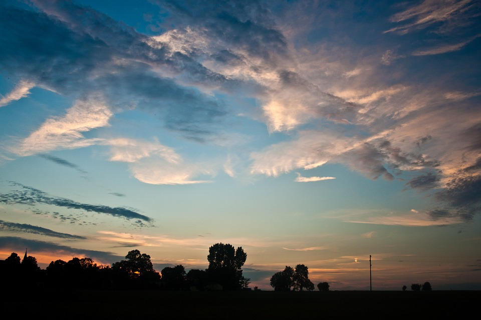 sunset trees silhouette landscape sky clouds HD wallpaper #1911951