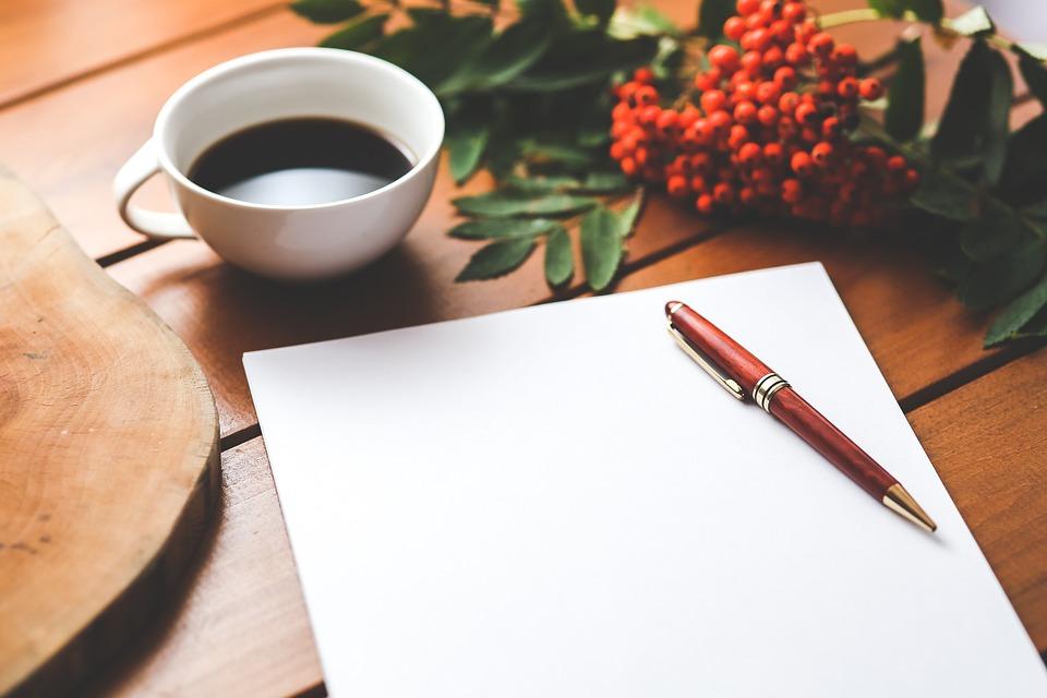 Празно, Хартия, Писалка, Кафе, Работа, Бюро, Дървена