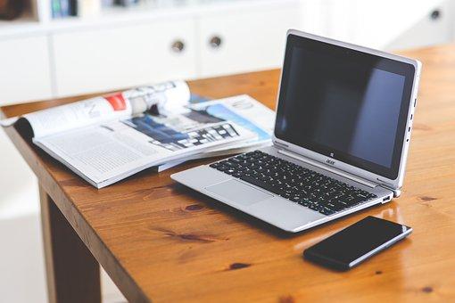 Tecnologia, laptop, computador, telefone celular