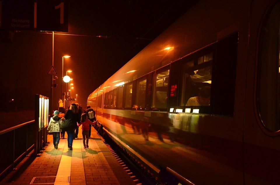 Night Railway Station Lights Lighting Train Travel & Free photo: Night Railway Station Lights - Free Image on Pixabay ... azcodes.com