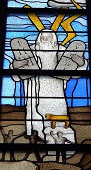 Church Window, 10 Commandments, Moses