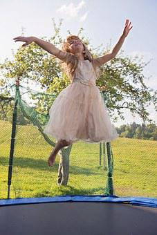 Trampoline, Person, Human, Girl, Dress