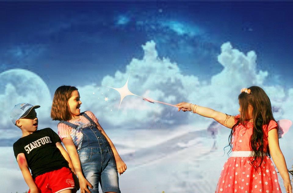 子供, スペル, マジック, 魔法の杖, ファンタジー, 雲