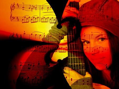 Música, Mulher, Violão, Linhas