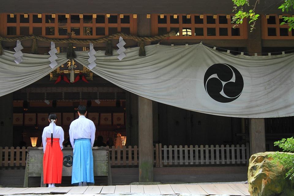 神社, お参り, 参拝, カップル, 男女, 和, 日本人