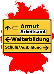 germany, map, traffic sign