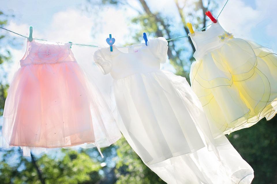 干し, 女の子ドレス, ランドリー, ハング, 衣料品, 女の子, クリーン, 風通しの良い, 洗浄