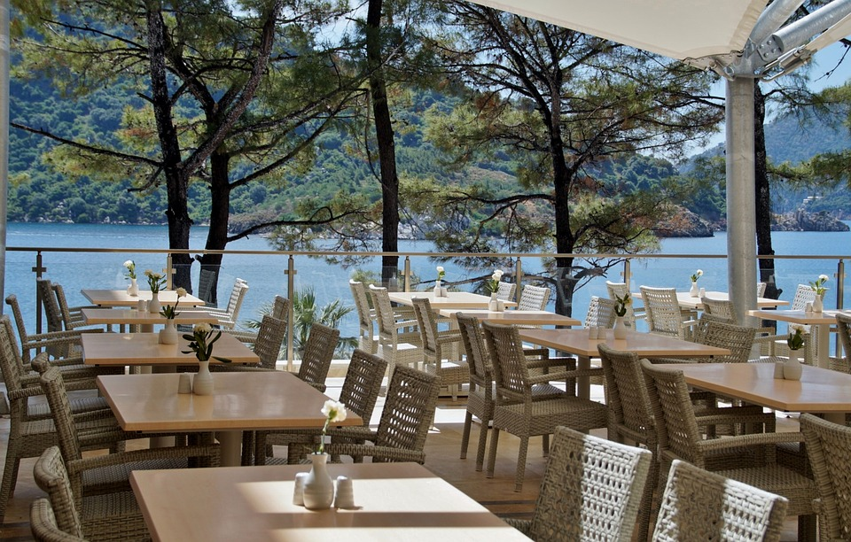 Restaurant, Chaise, Tables, Restaurant Dans Le Jardin
