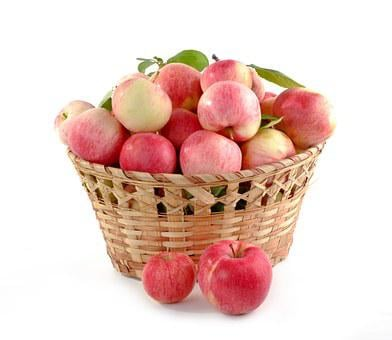 Apples Basket Full Set Crop Food Fruit Aut