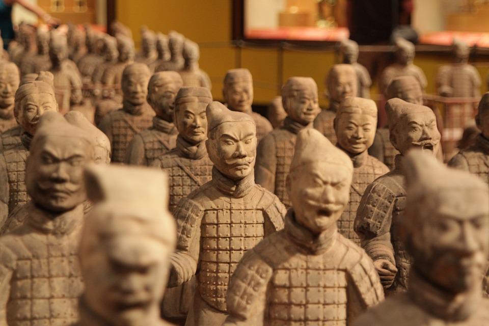 China, Soldados, Terracota, Escultura, Asia, Guerrero