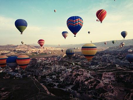 カッパドキア, トルコ, 旅行, ホット気球, 風景