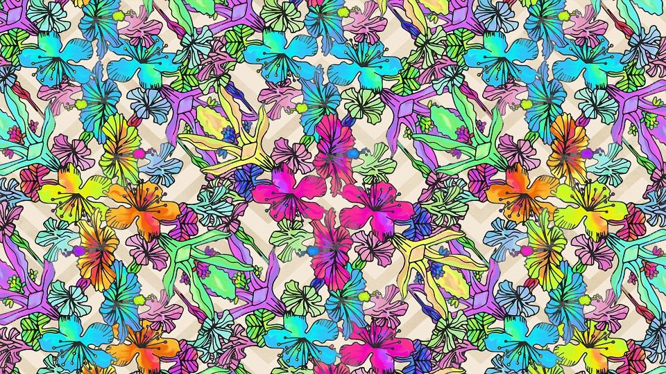 Flowers Print Rainbow Acid Floral Vintage Pattern