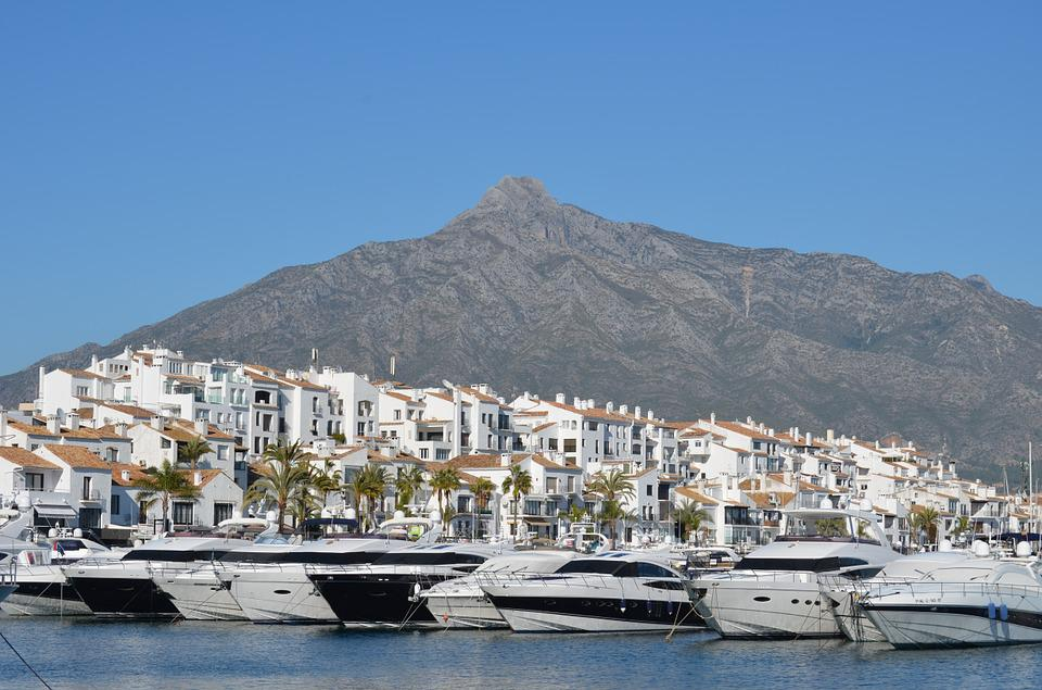 Puerto Banus, Marbella, Poort, Boten, Berg, Sierra