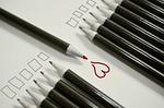 pencils, heart