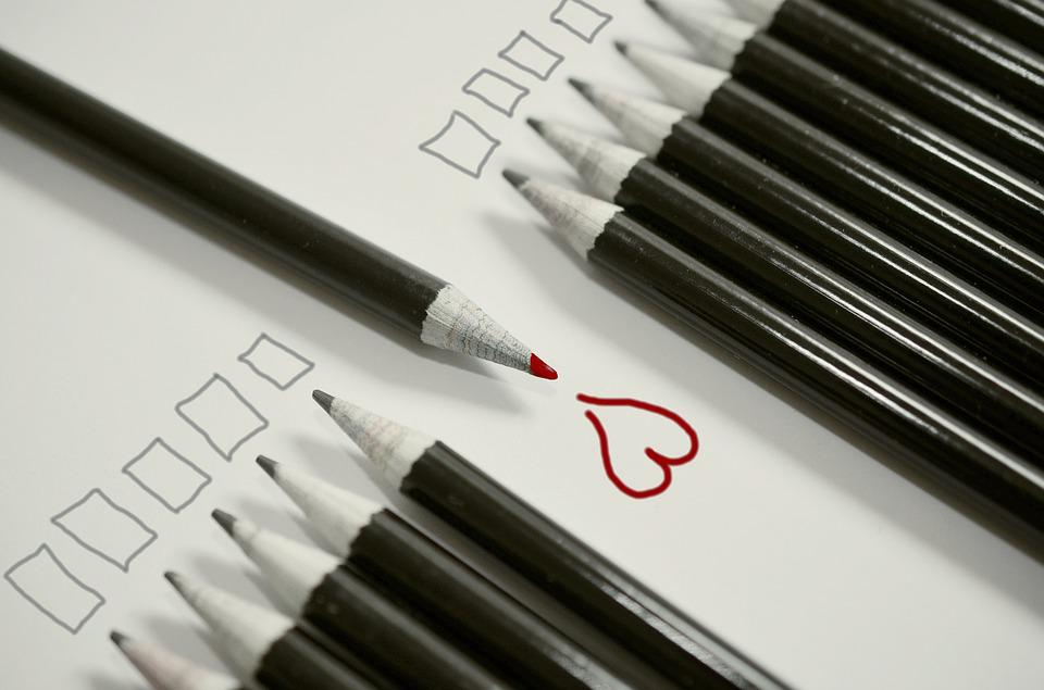 Pencils, Heart, Red Heart, Be Different, Unequal