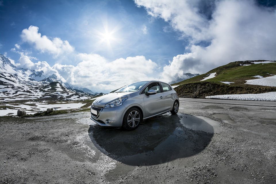 Peugeot, 208, Car, Mountain, View, Blue, White, Spring, types of cars