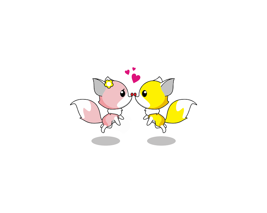 Free Illustration Fox Love Kiss Animal Cute Free