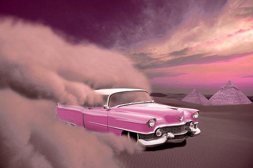 Car, Cadillac, Desert, Sand, Sandstorm