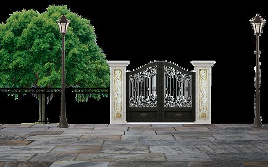 Park, Entrance, Gate, Fence, Pillars
