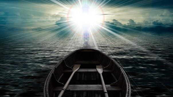 雲, 空, ボート, 海, 水の波, 信仰, キリスト教, 神, 復活