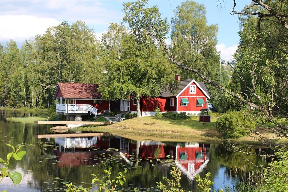 kostenloses foto haus see schweden idylle. Black Bedroom Furniture Sets. Home Design Ideas