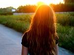 girl, sunset, long hair