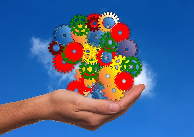 Free Illustration Hand Keep Gears Colorful Clouds