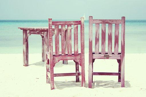 ビーチ, 椅子, 海, 夏, 休日, 残り, 平和, 夢, アルバ, テーブル