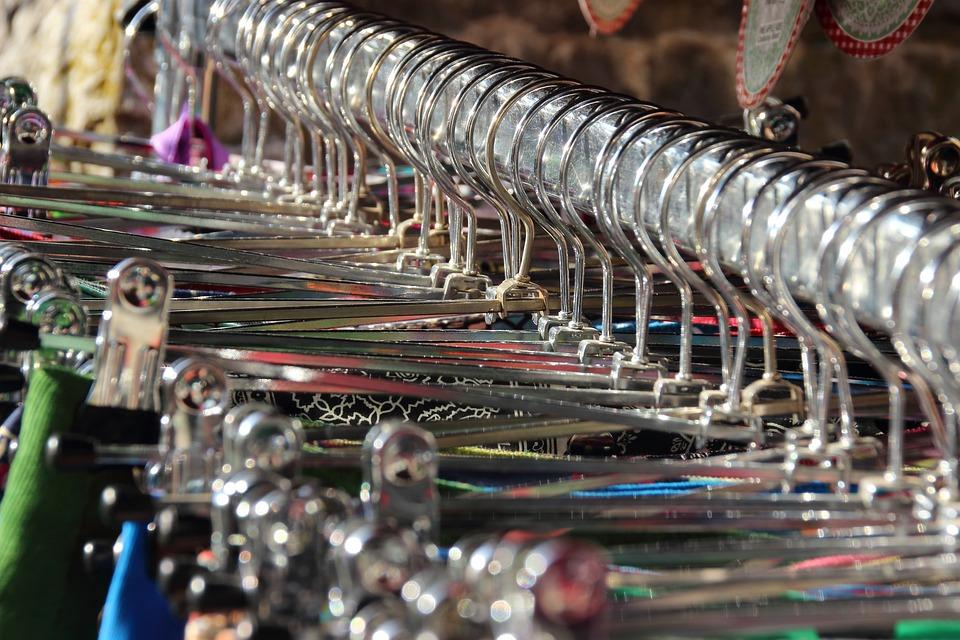 ドレス, 衣料品, コート ハンガー, アイロン, 金属, 輝く, 依存, 販売, ブティック