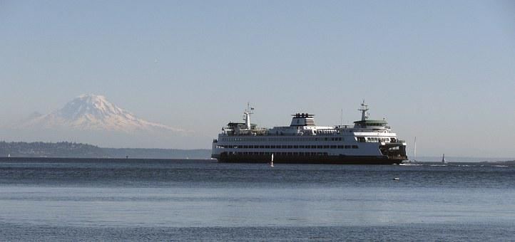 Ferry, Mount Rainier, Seattle