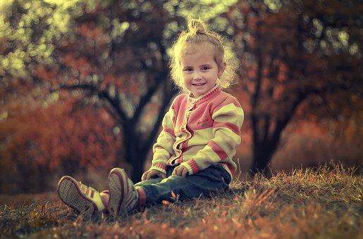儿童, 快乐, 女孩, 女性, 可爱, 童年, 坐, 户外